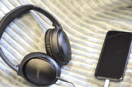 Bose headphones connected to iPhone